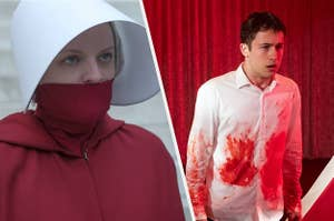 June with her mouth covered in The Handmaid's Tale and Clay with blood on his shirt in 13 Reasons Why
