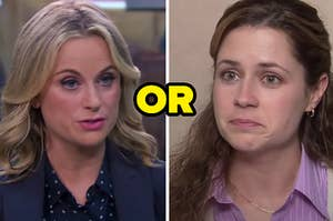 """Leslie is on the left in mid speech with Pam on the right looking emotional, as """"or"""" is written in the center"""