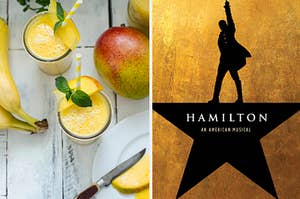 """Two glasses of mango smoothies are on the left with the """"Hamilton"""" soundtrack on the right"""