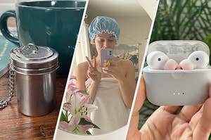 tea strainer, shower cap, and earbuds