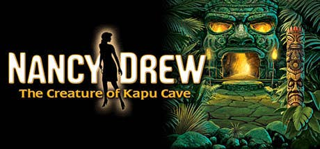 cover of the game nancy drew Creature of Kapu Cave which is a giant stone shaped into the face of a person with glowing eyes