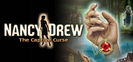 cover for nancy drew the captive curse, which is a hand holding a necklace with a large stone
