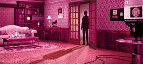 scene from the game where a shadow is standing in the doorway of a bedroom