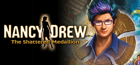 cover for the game nancy drew The Shattered Medallion, which includes an image of a man with soft hair, glasses, and a button-down shirt