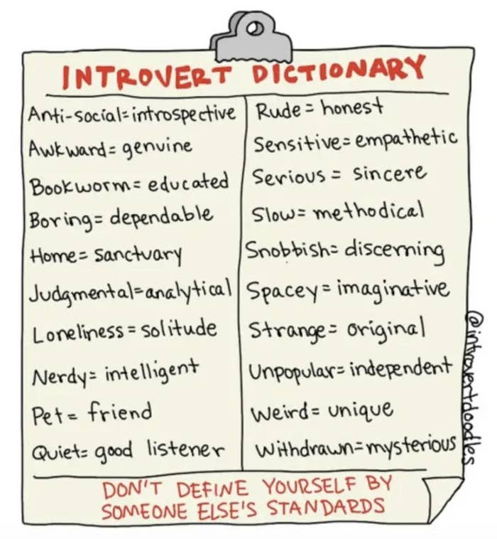 An introvert dictionary with typical words associated with an introvert and their alternative meanings (eg: bookworm = educated).