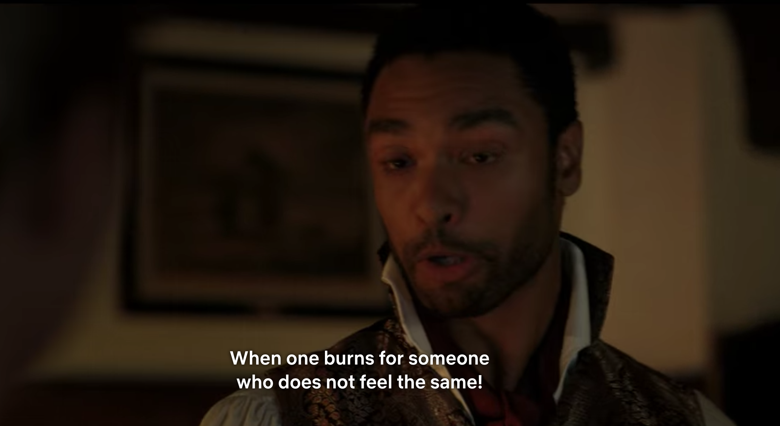 "Simon Basset saying ""When one burns for someone who does not feel the same!"""
