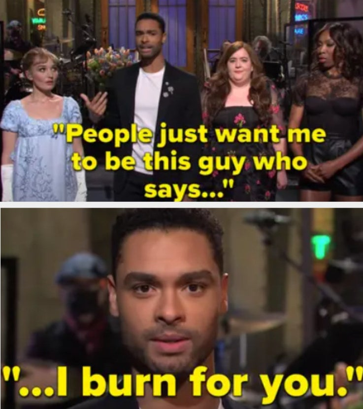 "Regé-Jean Page on SNL saying ""People just want me to be this guy who says ""I burn for you"""