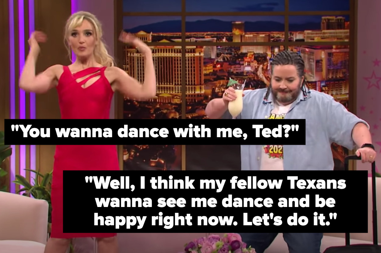 """""""Britney"""" says, """"You wanna dance with me, Ted?"""" """"Ted"""" says, """"Well, I think my fellow Texans wanna see me dance and be happy right now. Let's do it"""""""