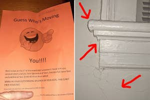 "A ""guess who's moving? You"" flyer from a landlord, and a badly painted shelf"