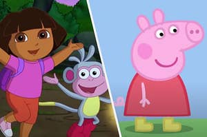 Dora is on the left jumping with Peppa the Pig smiling on the right