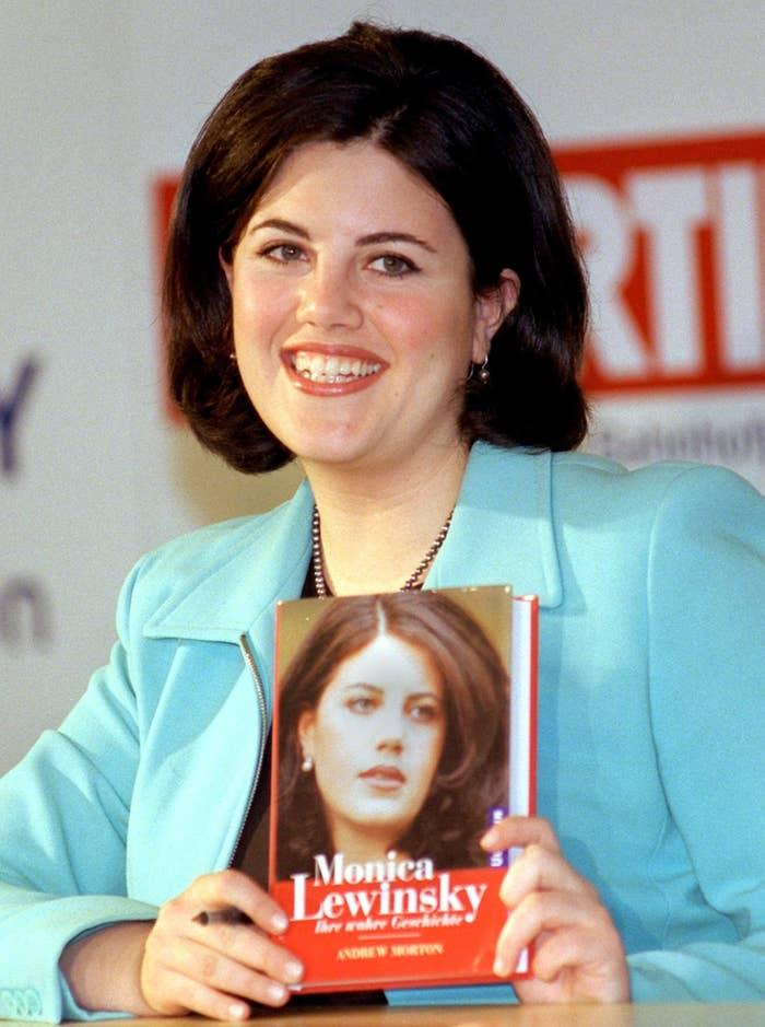Monica Lewinsky holding her book