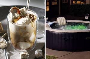 A split thumbnail of a coffee mug and a hot tub