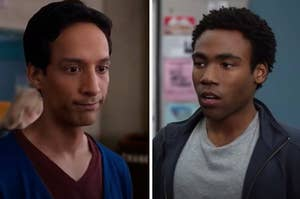 """Abed from """"Community"""" is looking down while Troy is looking concerned on the right"""
