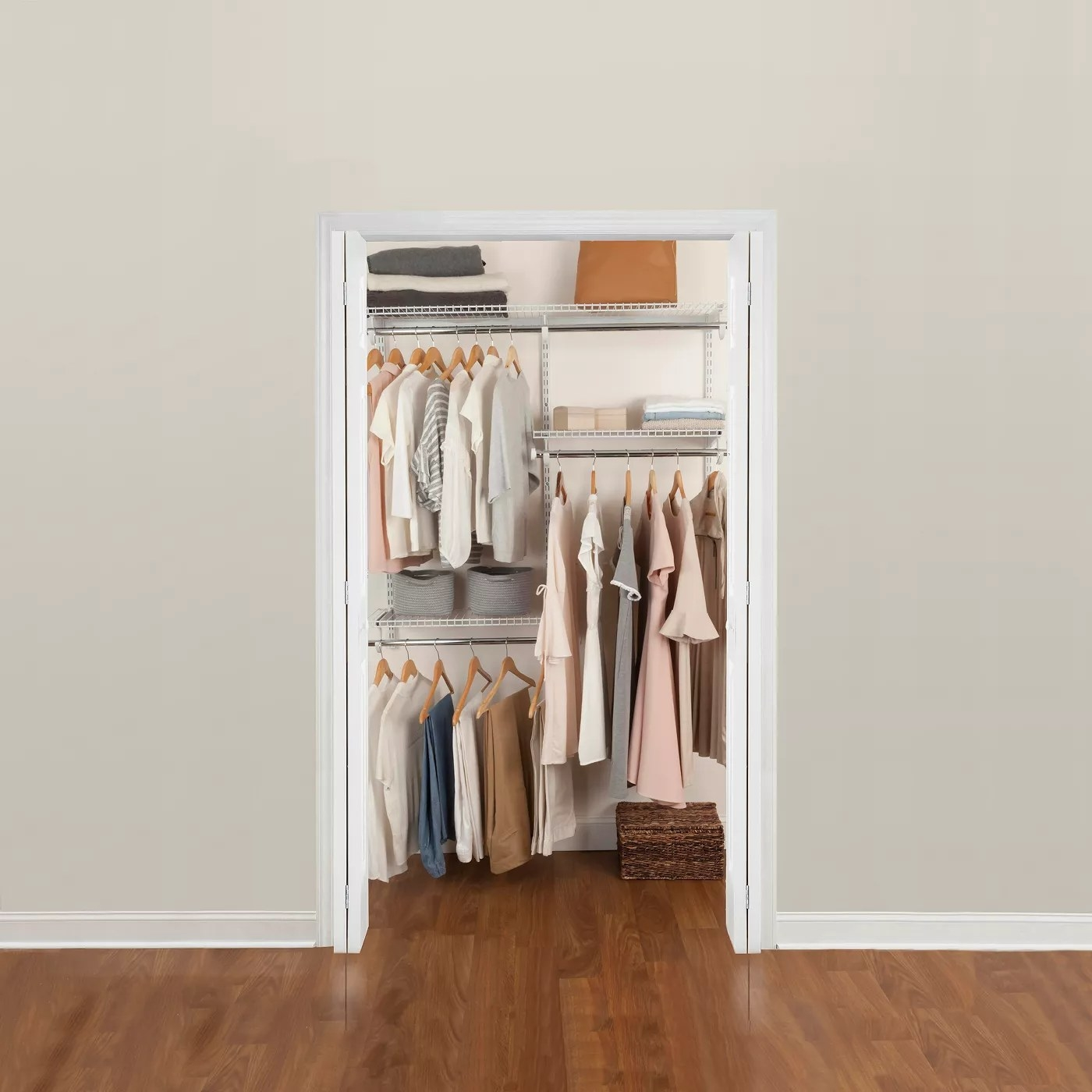 A closet with the storage system
