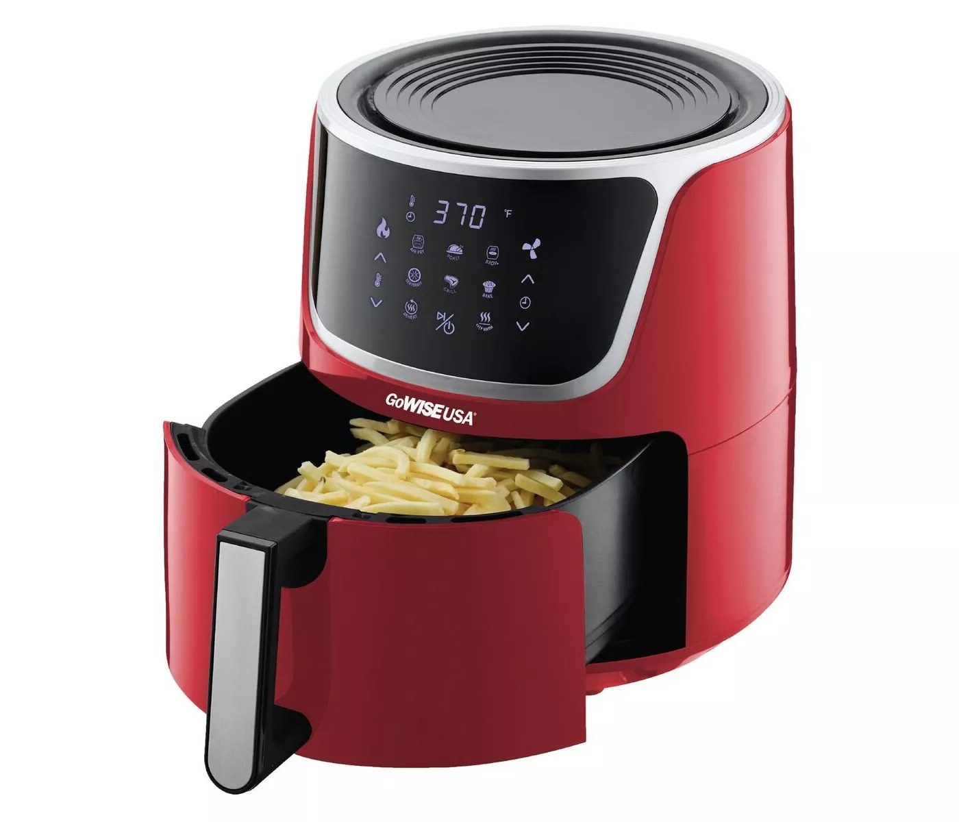 The red GoWISE USA air fryer