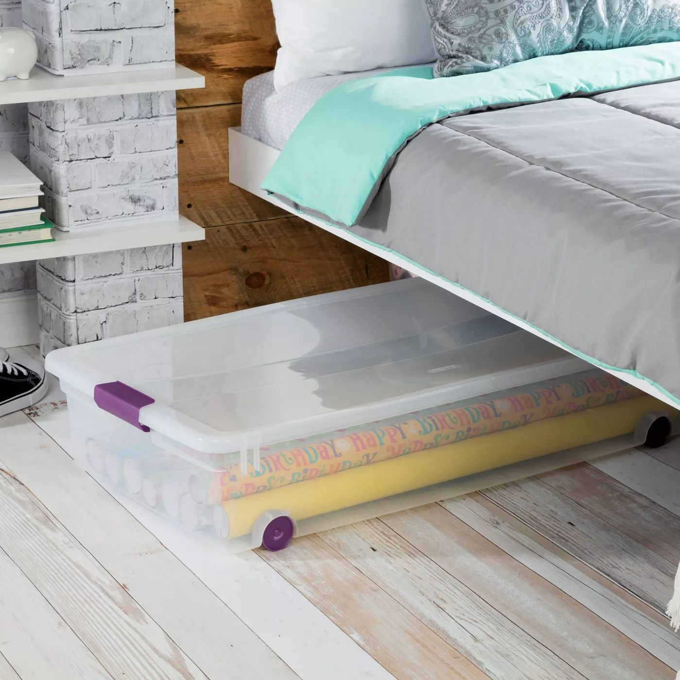 The clear storage baskets with latches and wheels