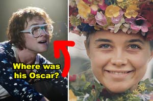 """Side-by-side of Taron Egerton in """"Rocketman"""" and Florence Pugh in a flower crown in """"Midsommar"""""""