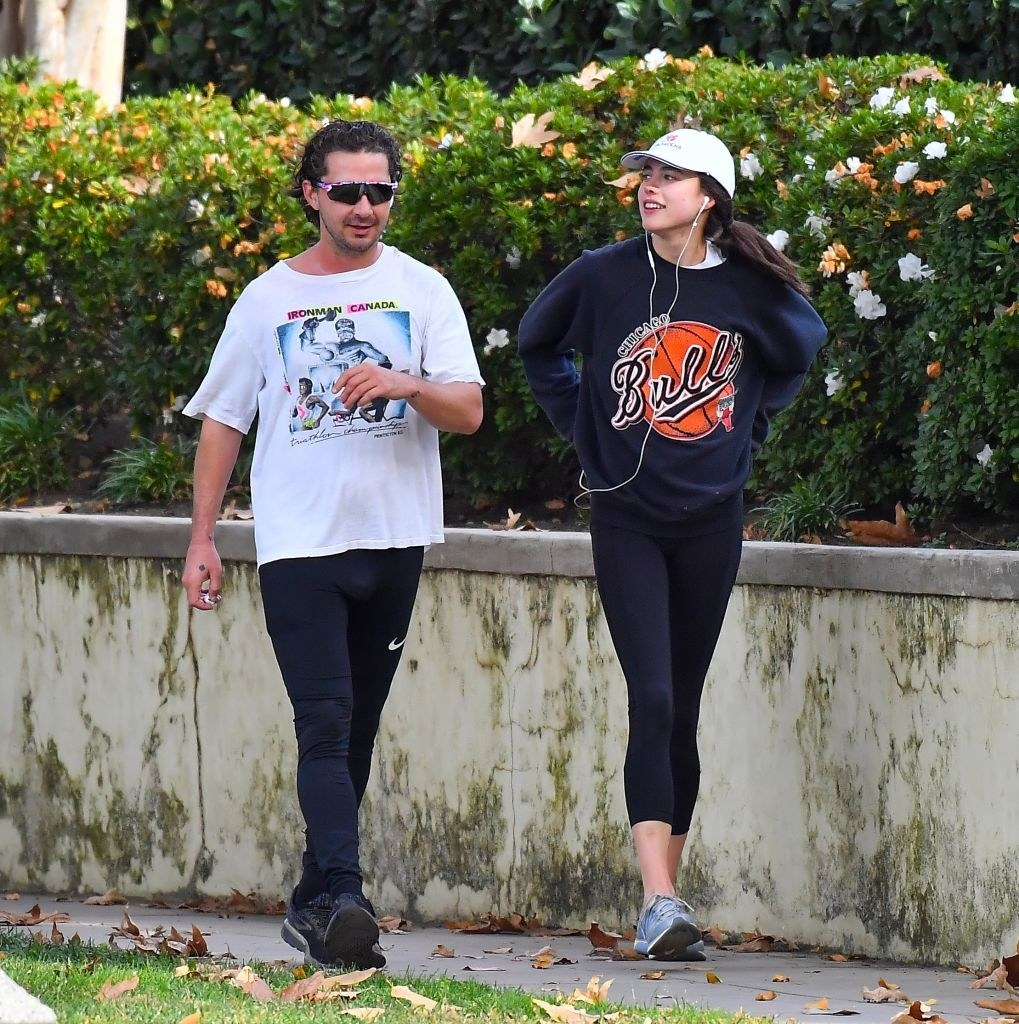 Shia LaBeouf and Margaret Qualley out for a jog on December 23, 2020 in Los Angeles, California.