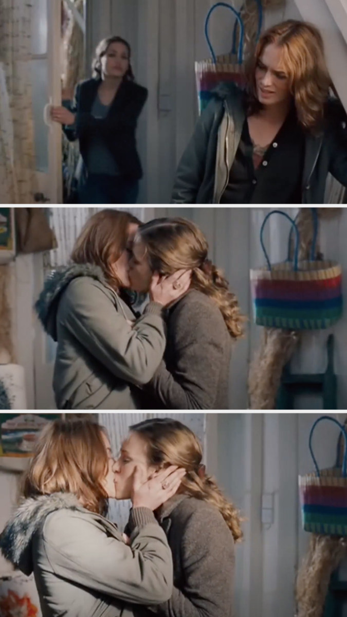 Luce and Rachel kissing