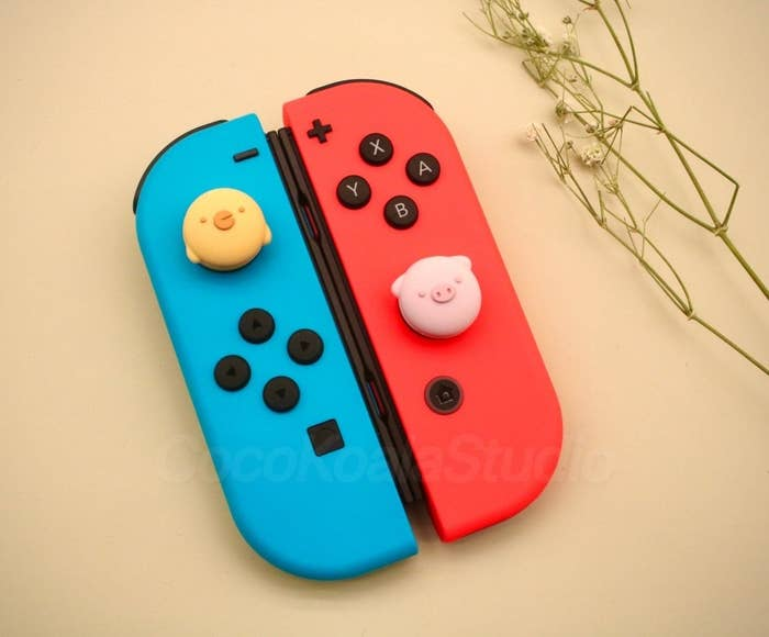the switch with pig and chick silicone covers