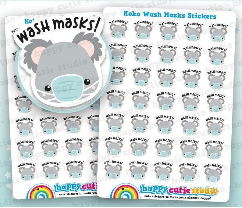 """sheets of small stickers featuring a koala face wearing a mask with the text """"wash masks!"""""""