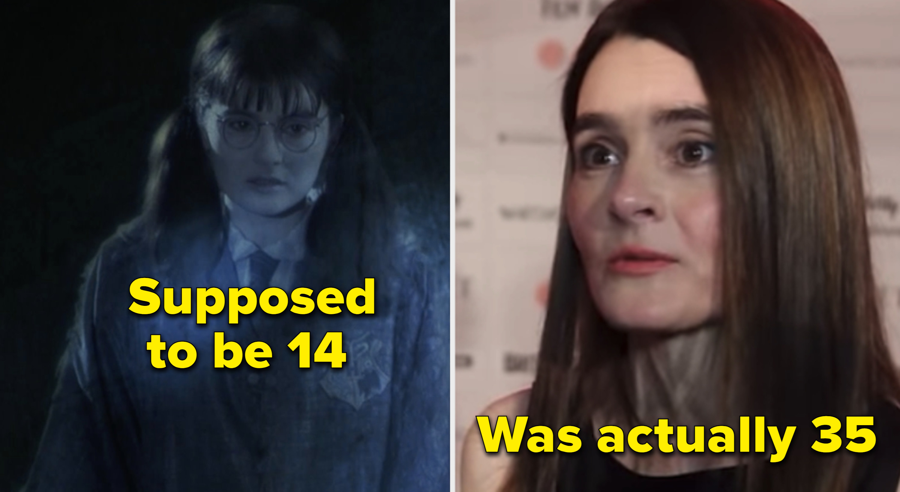 Moaning Myrtle in the movies vs. Shirley Henderson in real life
