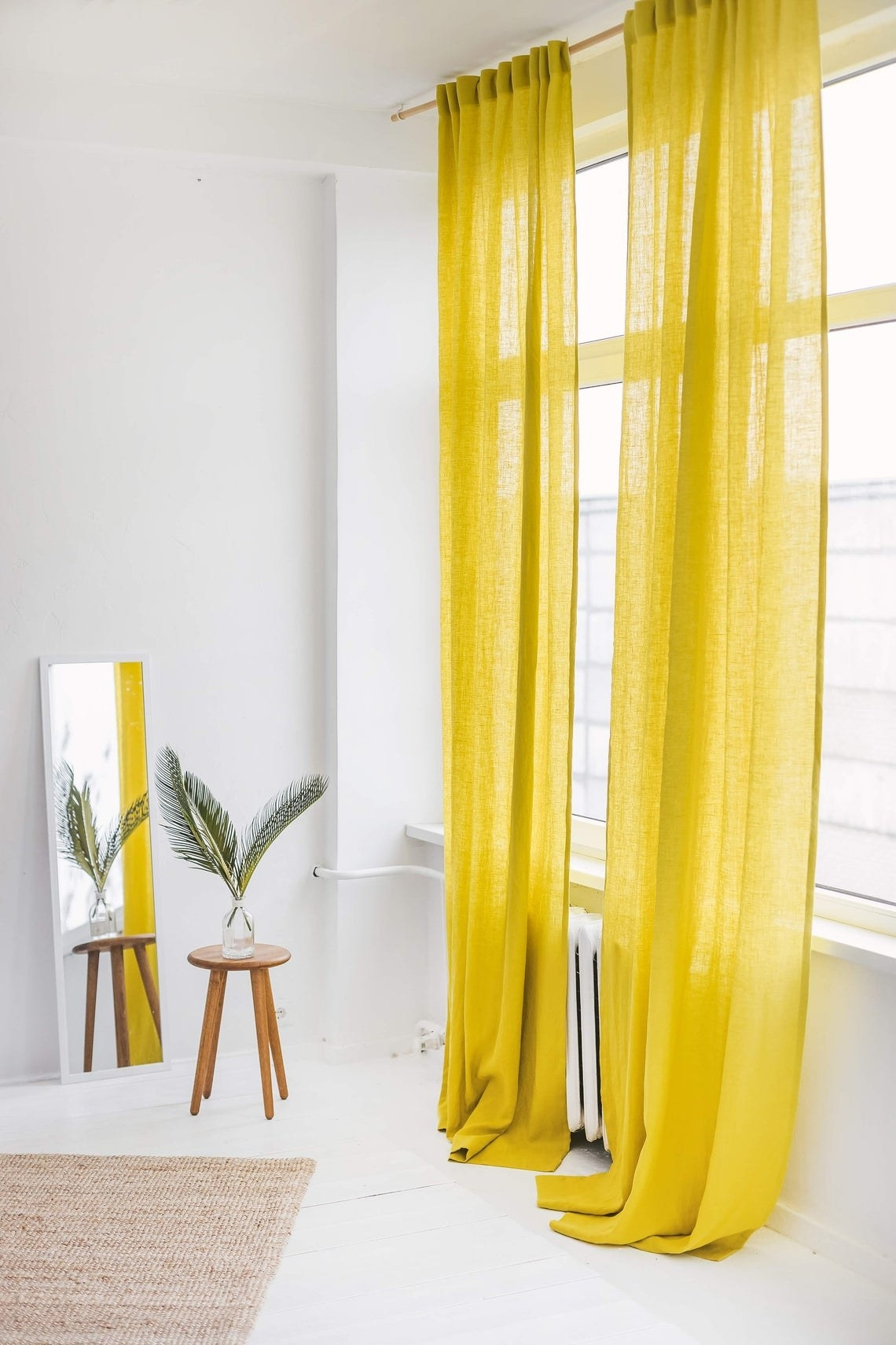 Long and light curtains in yellow