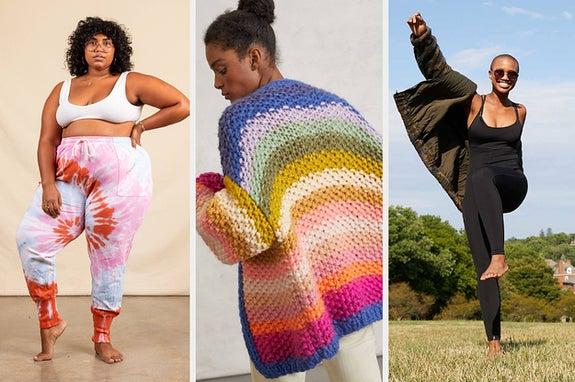 L: Model wearing tie-dye print sweatpants M: Model wearing rainbow colored cardigan R: Model wearing black bodysuit
