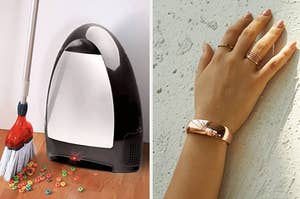 a black touchless vacuum and a rose gold safety cuff