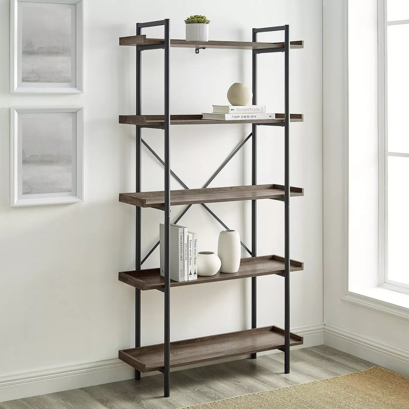 The shelves in gray wash