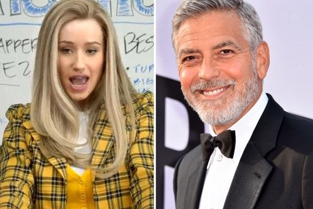 """Iggy Azalea in """"Clueless"""" yellow outfit and George Clooney"""