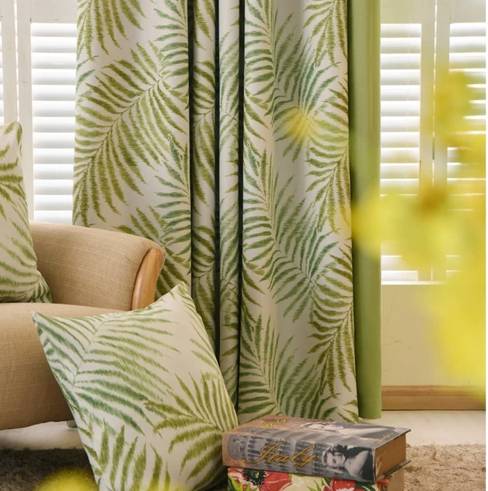 Leafy curtains with green blackout back