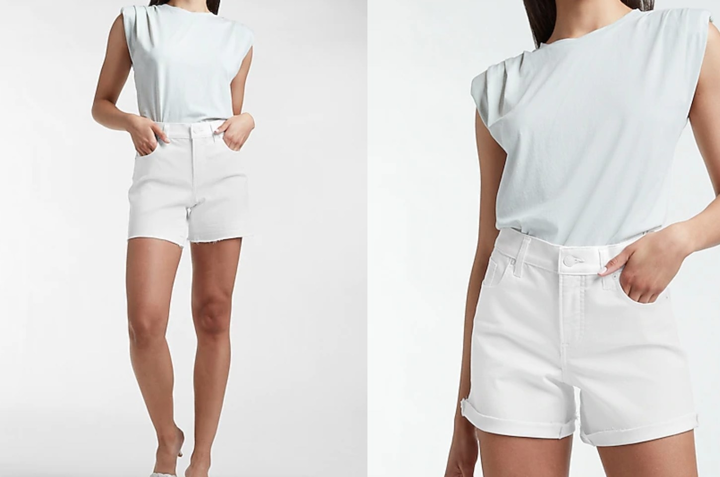 on the left, model wearing the shorts uncuffed. on the right, model wearing the shorts cuffed