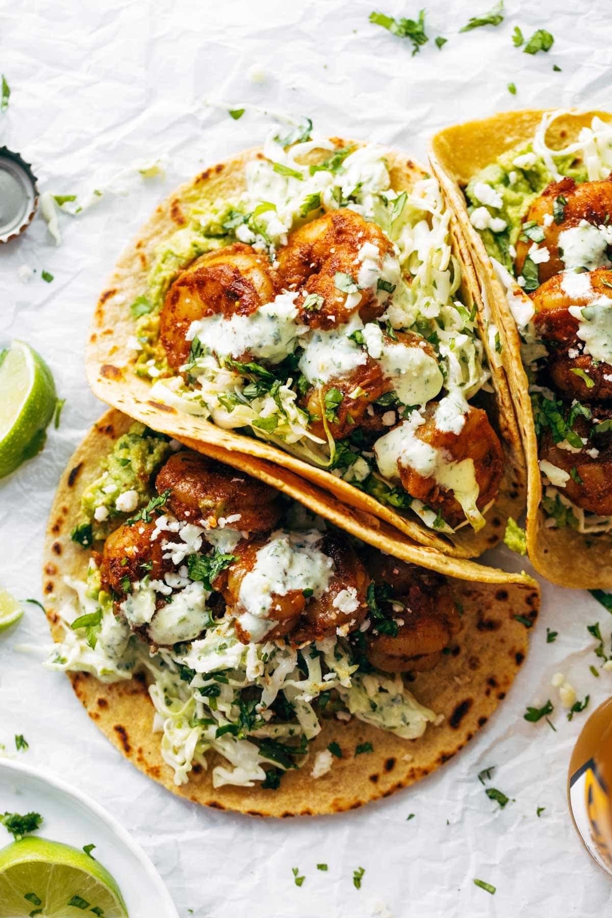 Shrimp tacos with slaw.