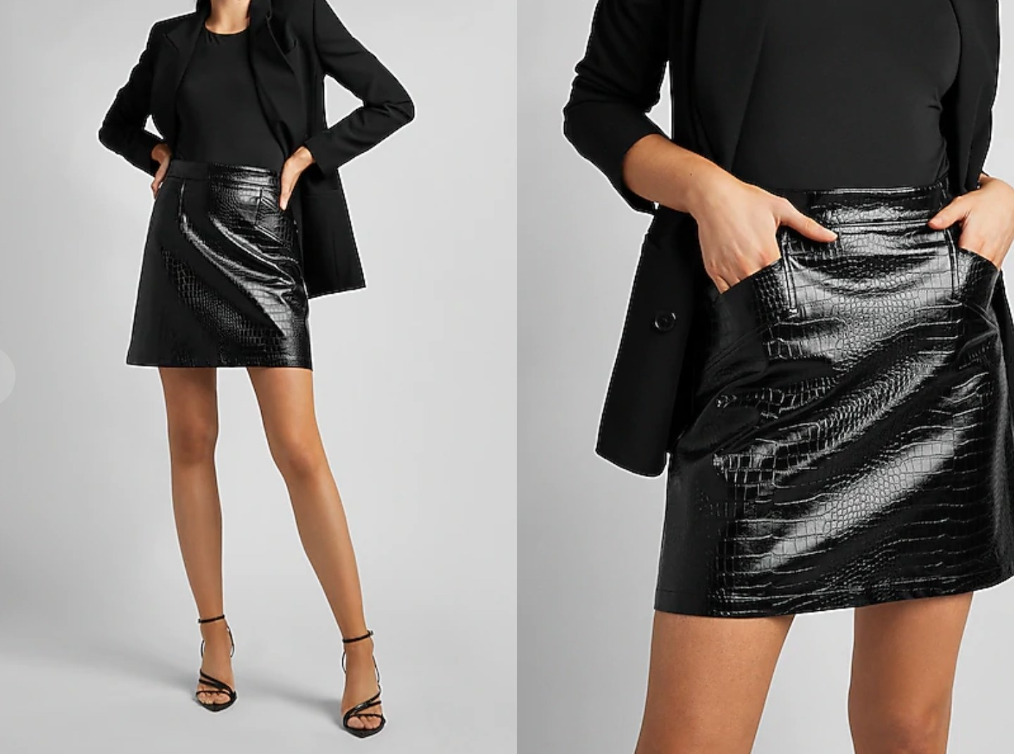 model wearing the skirt with their hands in the pockets