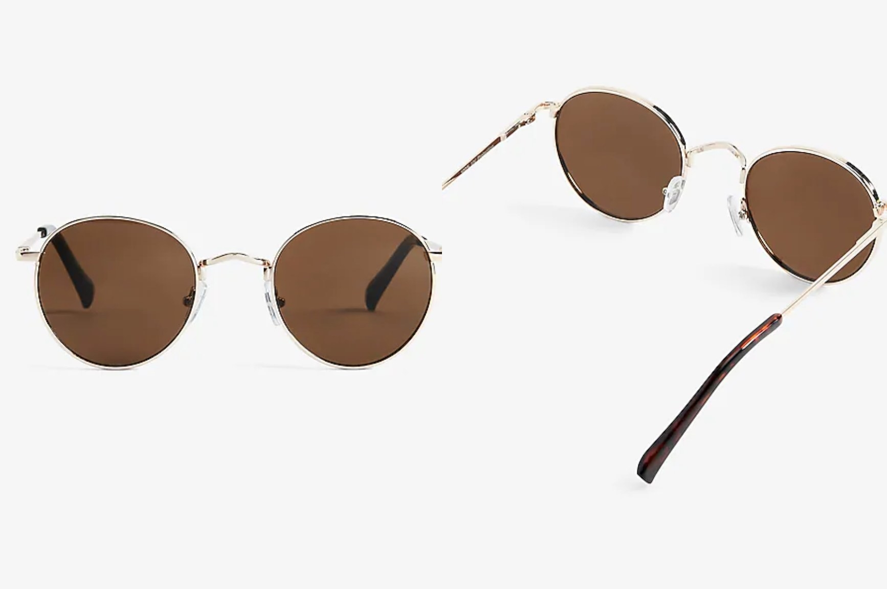 The pair of round-frame sunglasses in shiny gold