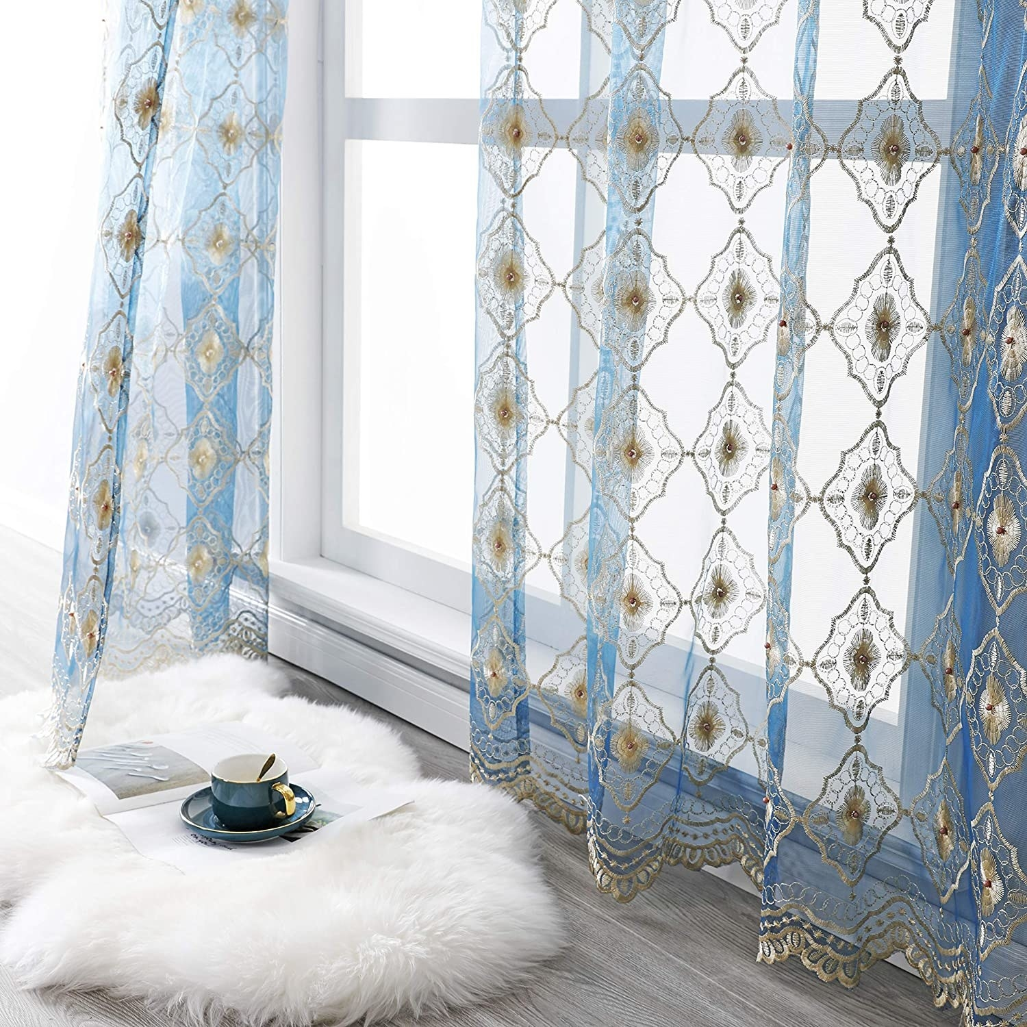 Beaded sheer curtains with lace details on the bottoms