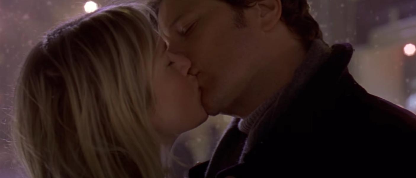 Bridget and Mark kissing