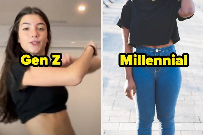 """charli d'amelio dancing with the text """"gen z"""" and a closeup of skinny jeans with the text """"millennial"""""""