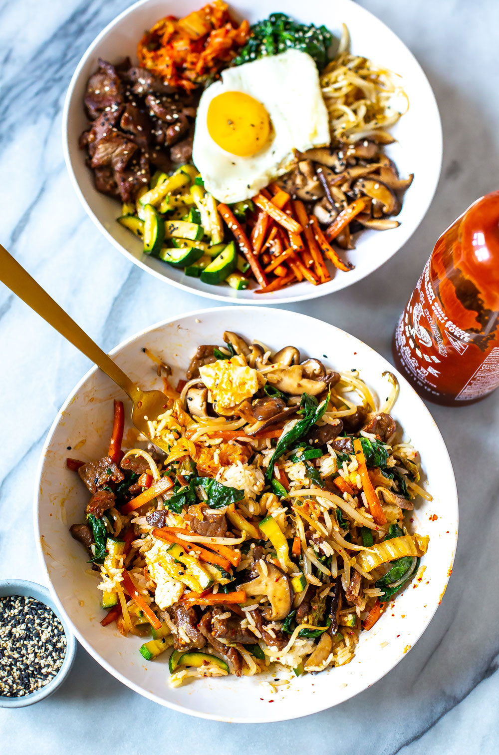 Korean beef and vegetable rice bowls.