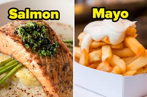 A piece of salmon on a bed of vegetables and mayo covered french fries.