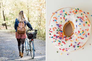 On the left, someone walking alongside their bike on a trail in the park, and on the right, a vanilla frosted donut with sprinkles