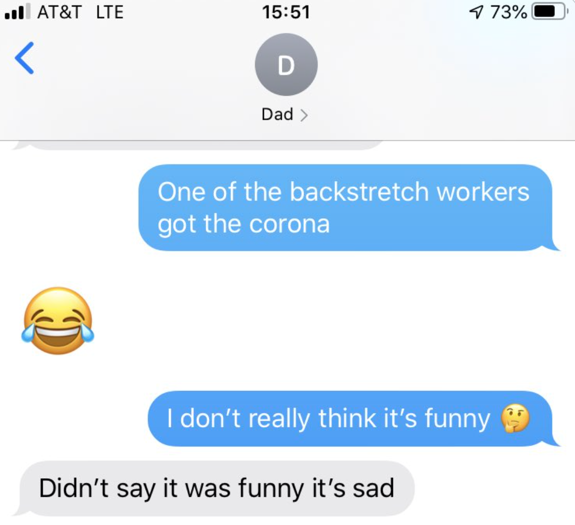 old person using the laughing crying emoji instead of a crying emoji when talking about coronavirus