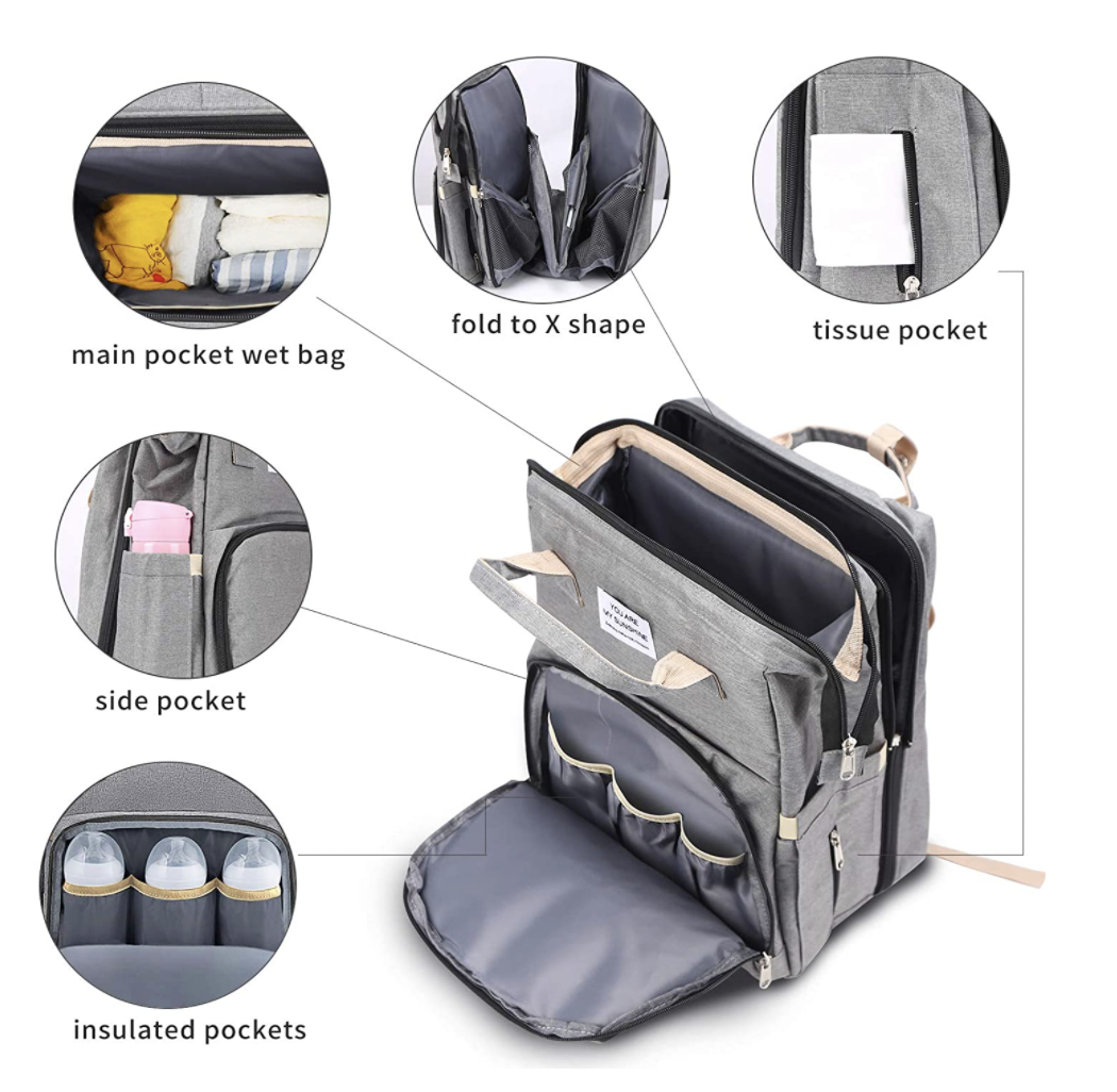 diaper bag showcasing compartments and pockets