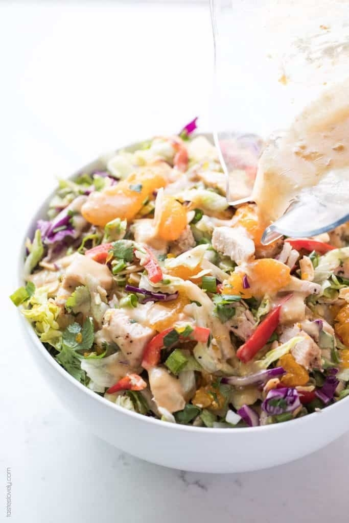 Chinese chicken salad with lots of vegetables and creamy dressing.
