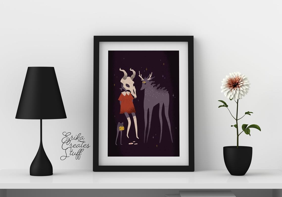 print of character with longhorn skull head next to deer creature
