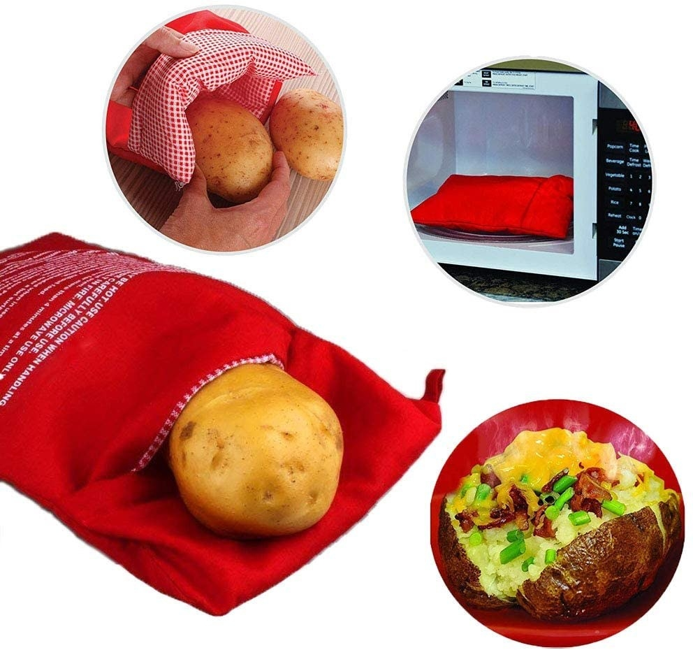 Collage of microwavable potato bag with potato inside, bag placed in a microwave, and a cooked baked potato