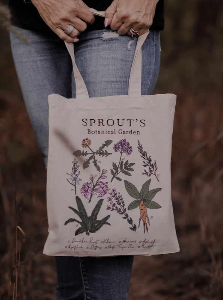 sprout's botanical tote bag