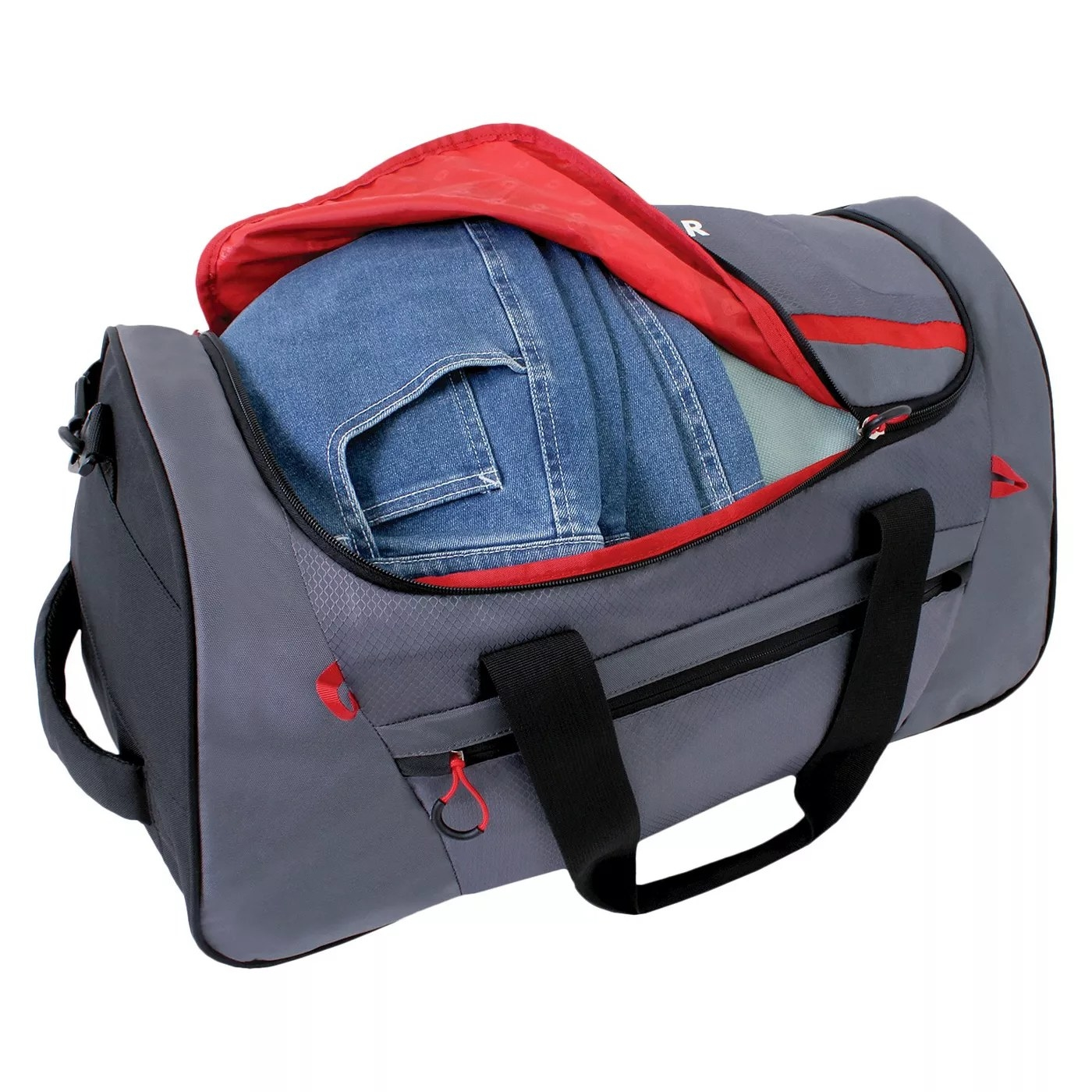 The gray and red SWISSGEAR duffel bag