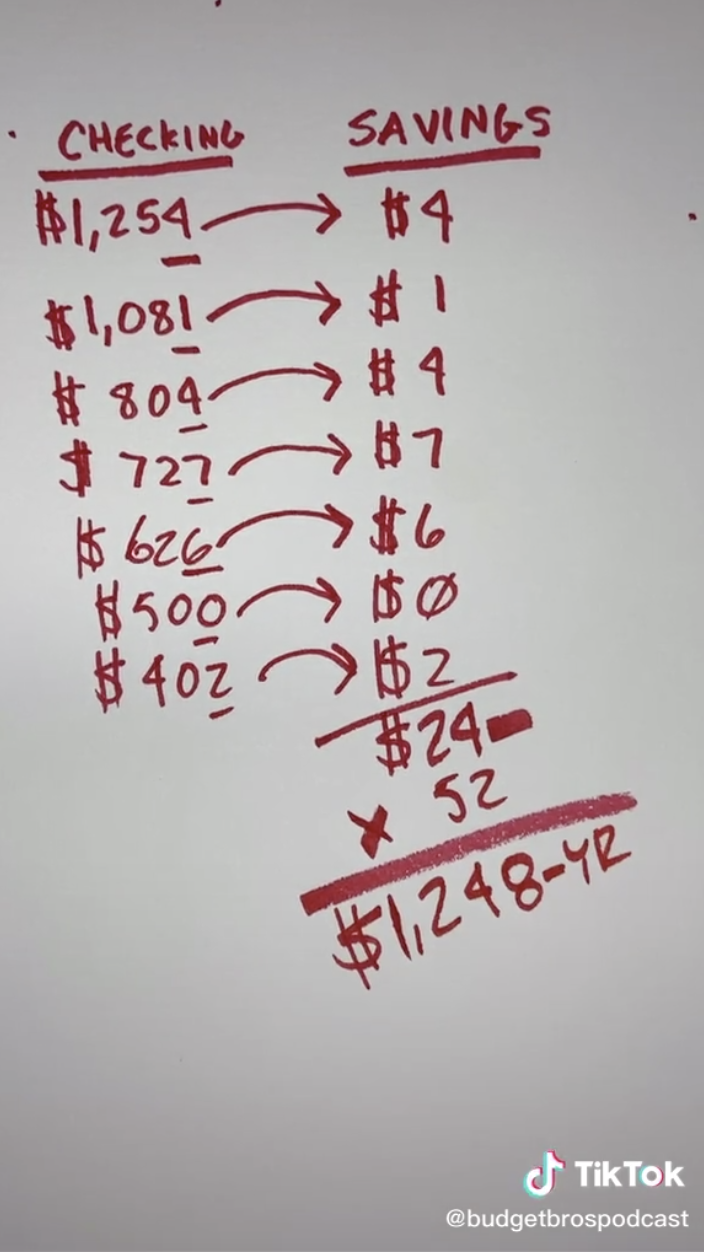 Video showing an estimate of how much someone could save in a year using this method